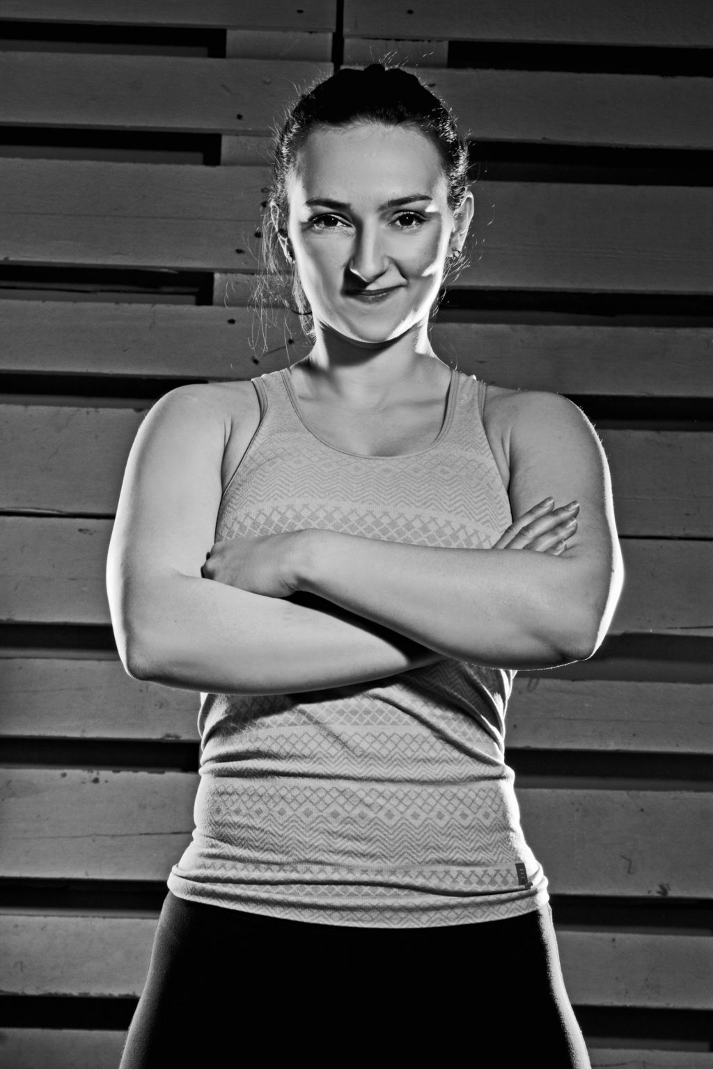 fit girl black and white posing