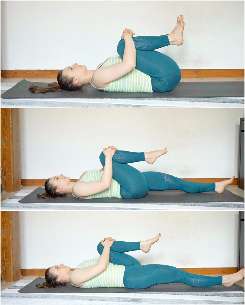 Girl performing knee-to-chest exercise.