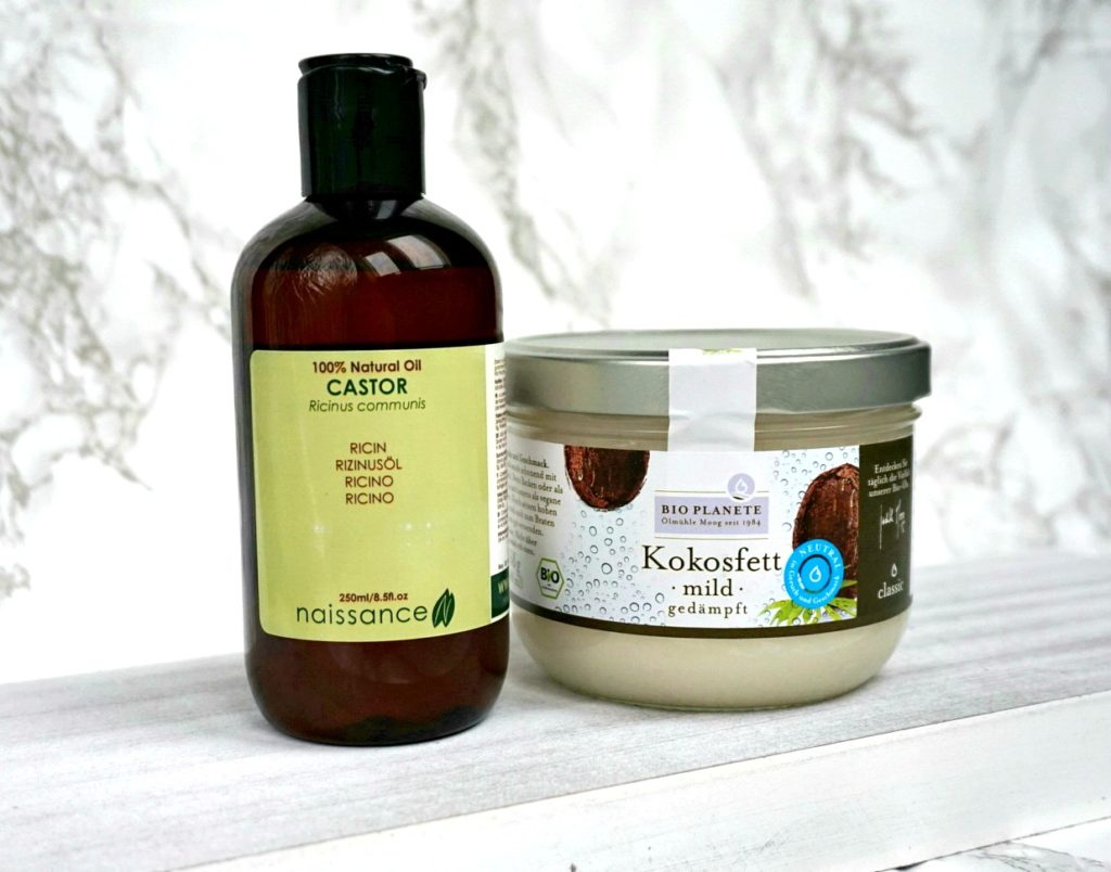Castor oil and coconut oil for skincare routine.