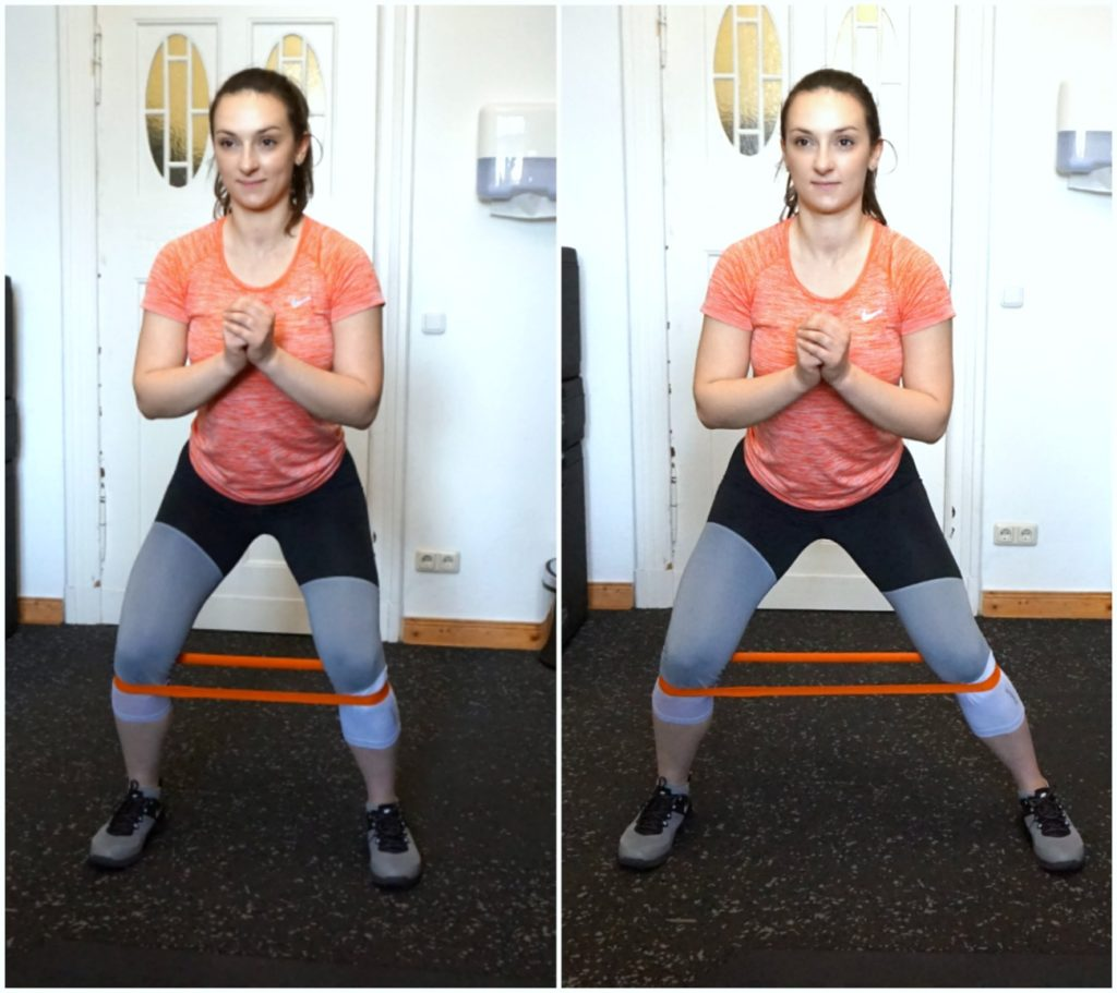 A picture collage of a girl in sports clothes performing the banded side walk exercise.