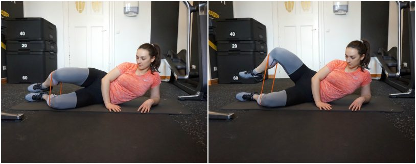 A picture collage of a girl in sports clothes performing the clamshell glutes exercise.