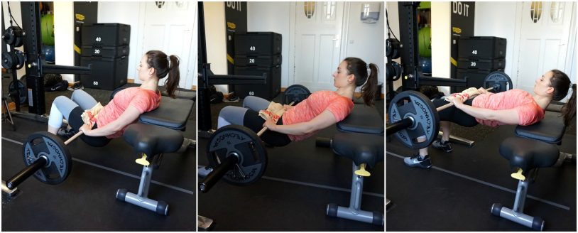 A picture collage of a girl in sports clothes performing a barbell hip thrust.