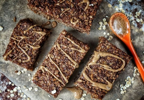 Oatbars with peanut butter and dried figs.
