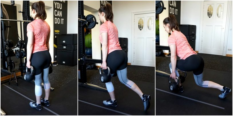 A picture collage of a girl in sports clothes performing a forward-lean reverse lunge.