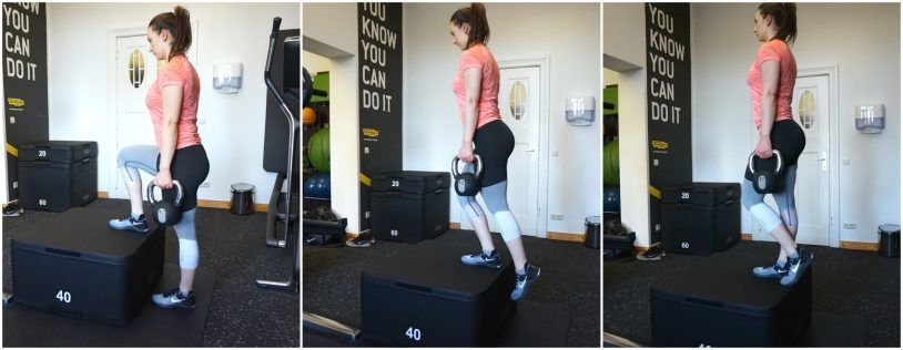 A picture collage of a girl in sports clothes performing a step-up exercise with two kettlebells.