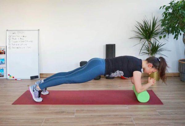 Girl Doing Plank Exercise on a Foam Roller