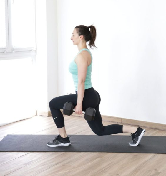 reverse lunge with dumbbells
