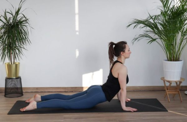 Upward Facing Yoga Pose as part of a Cool-down mobility routine
