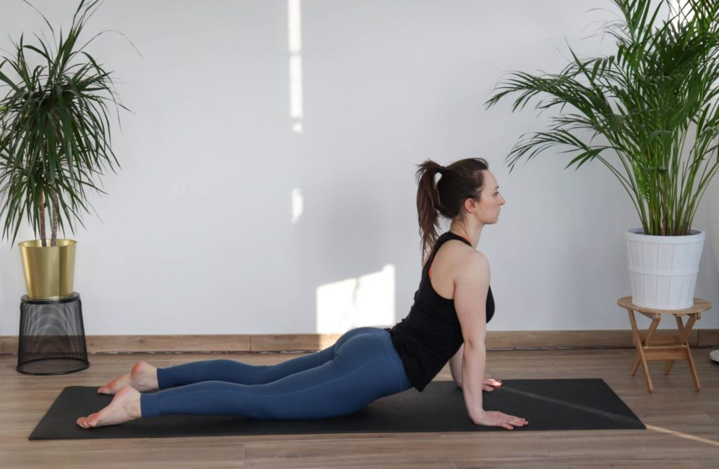 Upward facing dog yoga pose for a cool-down routine