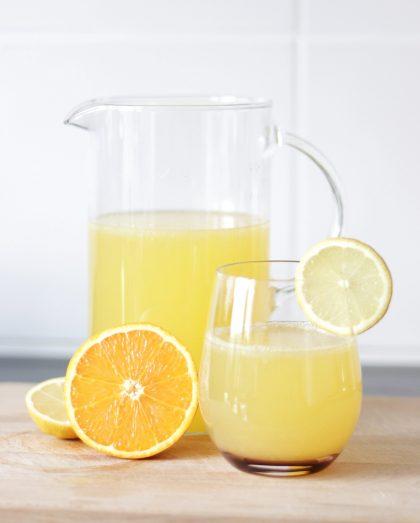 Lemon-ginger homemade electrolyte drink.