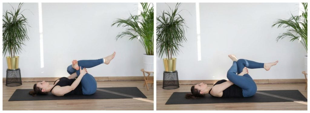 Pigeon pose yoga as part of a cool-down routine