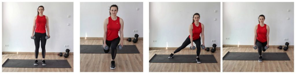 Young woman in sports clothing performing the diamond lunge exercise as part of a legs and glutes home workout.
