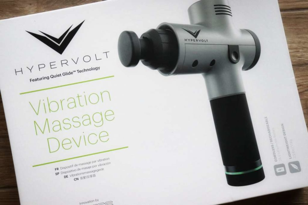 Image of the packaging of the Hyperice Hypervolt Massage gun