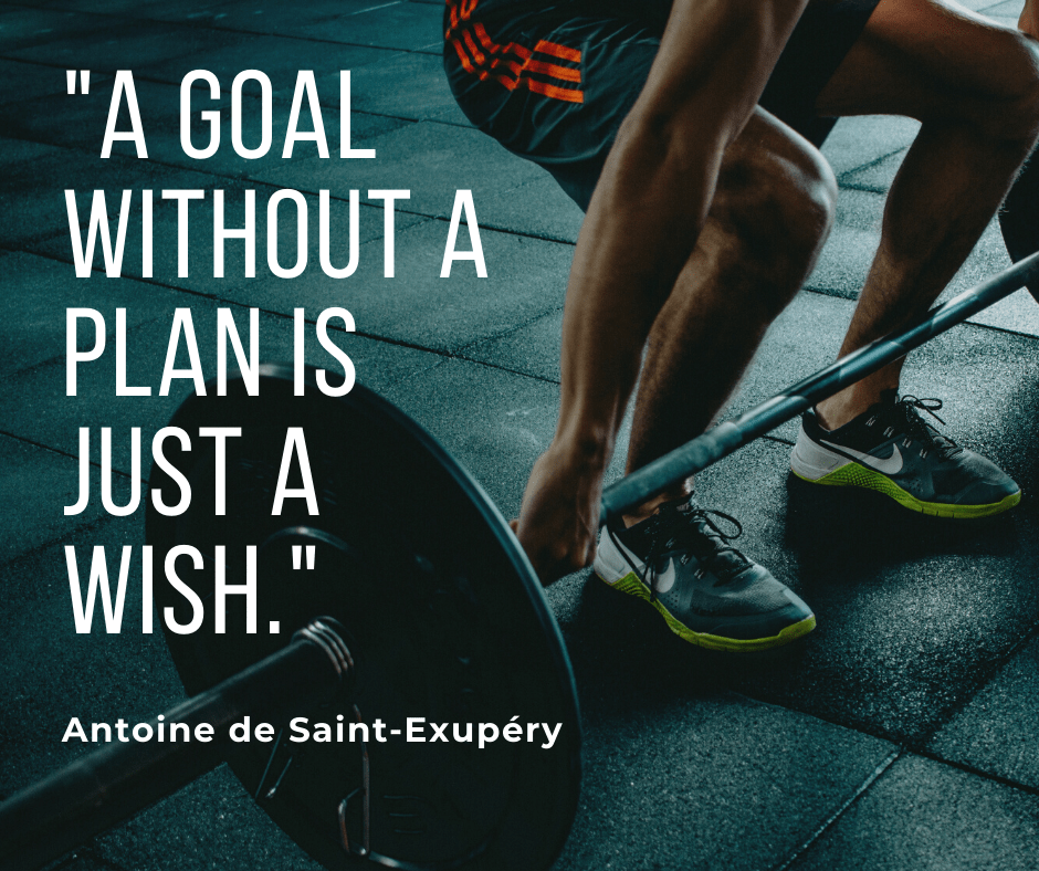 An image of a man in a gym with a motivational quote on top from Antoine de Saint-Exupery, relating to the topic of how to make your health a priority.