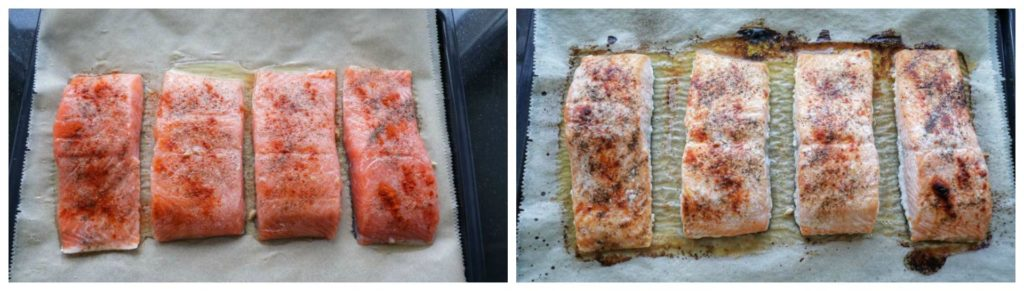 Easy meal prep salmon on a bakin tray before and after being baked.