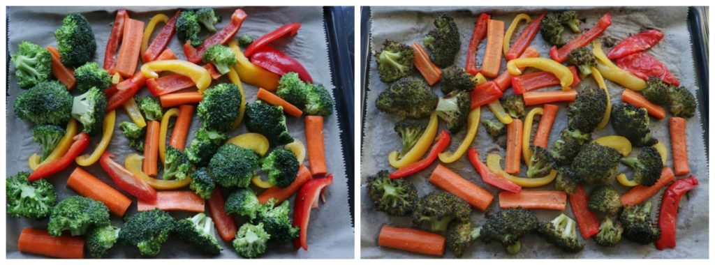 meal prep veggies on a baking tray before and after being roasted.