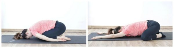 Child's pose to release tight and painful lower back.
