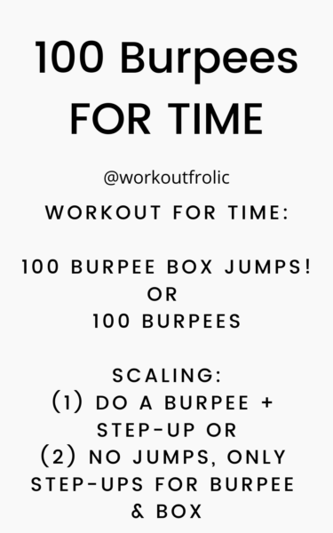 image fof a Workout consisting of 100 burpees for time
