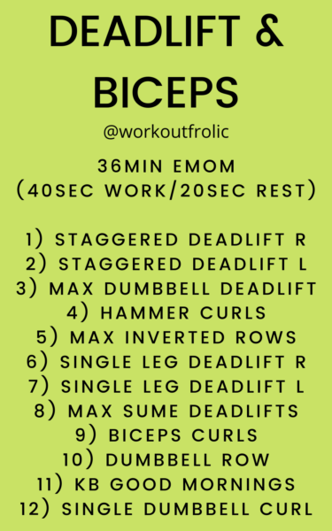 Image for a 36min EMOM workout with focus on deadlifts and biceps