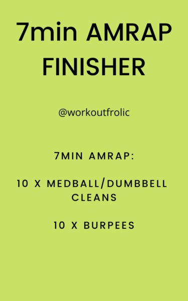 Image for a 7min workout finisher with dumbbell cleans and burpees