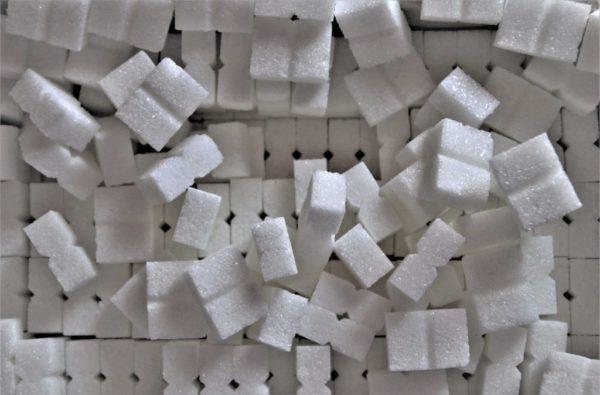 Sugar cubes demonstrating the amound of sugar in soda.