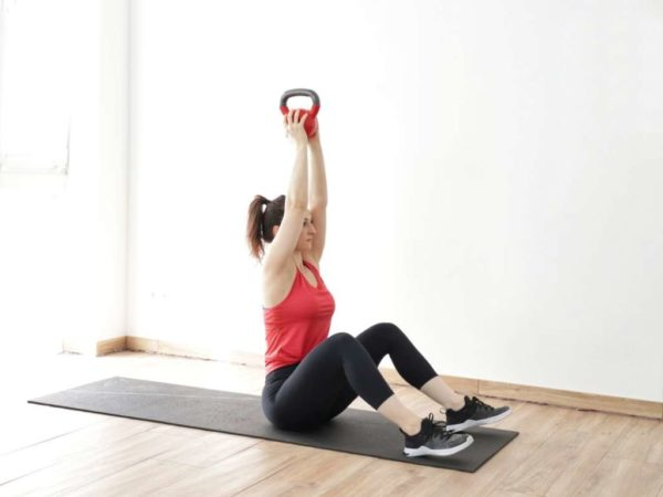 kettlebell sit-up exercise
